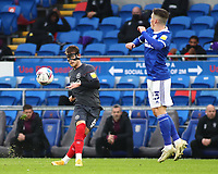 26th December 2020; Cardiff City Stadium, Cardiff, Glamorgan, Wales; English Football League Championship Football, Cardiff City versus Brentford; Mathias Jensen of Brentford crosses the ball as Harry Wilson of Cardiff City attempts to block