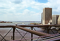 New York: Upper Bay from deck of Brooklyn Bridge. Photo '78.