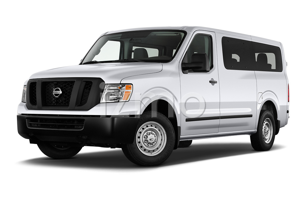 Stock pictures of low aggressive front three quarter view of 2020 Nissan NV-Passenger S 4 Door Passenger Van Low Aggressive