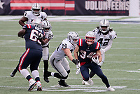 27th September 2020, Foxborough, New England, USA;  New England Patriots running back Rex Burkhead (34) breaks into the backfield during the game between the New England Patriots and the Las Vegas Raiders