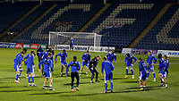 Gillingham players warm up ahead of kick-off during Gillingham vs Arsenal Under-21, Papa John's Trophy Football at the MEMS Priestfield Stadium on 10th November 2020