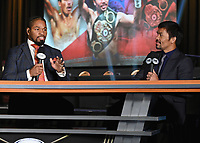 LAS VEGAS, NV - AUG 18: Shawn Porter and Manny Pacquiao at a press conference at the MGM Grand Garden Arena on August 18, 2021 for their upcoming Fox Sports PBC pay-per-view fight in Las Vegas, Nevada. Pacquiao vs Ugas pay-per-view will be on August 21 at T-Mobile Arena in Las Vegas. (Photo by Scott Kirkland/Fox Sports/PictureGroup)