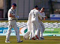 Tom Bailey (far right) of Lancashire is mobbed after taking the wicket of Zak Crawley (L) during Kent CCC vs Lancashire CCC, LV Insurance County Championship Group 3 Cricket at The Spitfire Ground on 24th April 2021