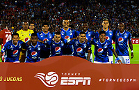 BOGOTÁ-COLOMBIA, 12-01-2020: Jugadores de Millonarios, posan para una foto, antes de partido entre Millonarios y América de Cali, por el Torneo ESPN 2020, jugado en el estadio Nemesio Camacho El Campin de la ciudad de Bogotá. / Players of Millonarios, pose for a photo prior a match between Millonarios and America de Cali, for the ESPN Tournament 2020, played at the Nemesio Camacho El Campin stadium in the city of Bogota. Photo: VizzorImage / Luis Ramírez / Staff.