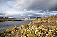 The evening sun illuminates the Brooks and the the Sheenjek River near Kuirzinjik Lake (Lobo Lake) in Alaska's Arctic National Wildlife Refuge in late August.