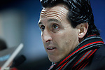 Sevilla´s coach Unai Emery speaks during a press conference after 2014-15 La Liga match at Alfonso Perez Coliseum stadium in Getafe, Spain. February 08, 2015. (ALTERPHOTOS/Victor Blanco)