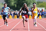Las Vegas' Tre James, center, takes second place in the DI 100 boys at the NIAA track and field finals at Carson High School in Carson City, Nev., on Saturday, May 21, 2016. Cathleen Allison/Las Vegas Review-Journal