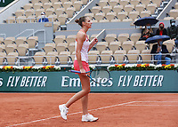 29th September 2020, Roland Garros, Paris, France; French Open tennis, Roland Garros 2020;  Karolina Pliskova of Czech Republic reacts during for womens singles first round match against Mayar Sherif of Egypt at French Open