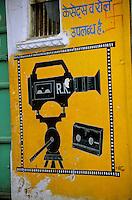 Asie/Inde/Rajasthan/Udaipur : Peinture murale enseigne représentant une caméra