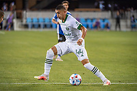 SAN JOSE, CA - MAY 15: Marvin Loria #44 of the Portland Timbers dribbles the ball during a game between San Jose Earthquakes and Portland Timbers at PayPal Park on May 15, 2021 in San Jose, California.
