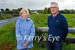 Mary O'Neill from Malahide, Dublin at the site of the Ballymacandy Ambush where her grandfather, RIC Sergeant James Collery was killed on June 1, 1921 with Dermot Cotter, whose grandfather Jerry O'Connor was the IRA man who threw the grenade that killed him. L to r: Mary O'Neill and Dermot Cotter,