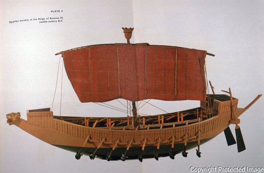 World Civilization:  Egyptian Warship, Reign of Ramses III, 12th C. B.C.  Still no keel! Rowed by slaves. Figurehead of lion with human head in jaws.  Zvi Herman's PEOPLES, SEAS AND SHIPS.  G.P. Putnam's Sons, 1967.