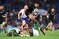 2nd October 2021, Cbus Super Stadium, Gold Coast, Queensland, Australia;   Rieko Ioane tries to skip tackles. New Zealand All Blacks versus South Africa Springboks.The Rugby Championship. Rugby Union test match.
