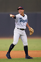 Tampa Tarpons shortstop Anthony Volpe (12) during a game against the Fort Myers Mighty Mussels on May 19, 2021 at George M. Steinbrenner Field in Tampa, Florida. (Mike Janes/Four Seam Images)