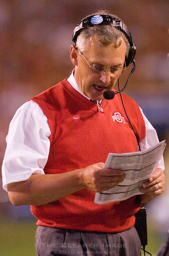 09 September 2006: Ohio State head coach Jim Tressel checks his playbook during the Buckeyes 24-7 victory over the Texas Longhorns at Darrell K Royal Memorial Stadium in Austin, TX.