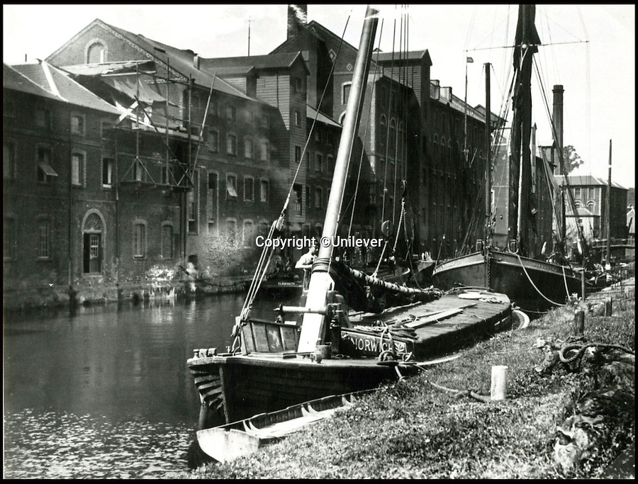 BNPS.co.uk (01202 558833)<br /> Pic: Unilever/BNPS<br /> <br /> A Norfolk wherry moored outside the Carrow works in 1900 -  the sailing barges were used to transport the mustard plants to the factory.<br /> <br /> A staple of the British kitchen is celebrating its anniversary this year as Colman's Mustard turns 200.<br /> <br /> Archivist's research reveals the 200 year history of Colmans mustard.<br /> <br /> Founded in Norwich in 1814 by Jeremiah Colman, the super hot condiment made from Norfolk mustard seeds soon become a family favourite at dinner tables throughout the Empire, with even Capt Scott taking a case on his ill fated Terra Nova expedition to the south pole.<br /> <br /> So vital was the powdered sauce that it escaped wartime rationing to keep the home fires burning during the dark days of WW2. <br /> <br /> Despite being founded a year before Napoleon met his Waterloo, the world famous brand still produces 3000 tons of the fiery favourite every year exporting to all parts of the globe.
