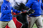 Southern Methodist Mustangs mascot, Peruna, in action during the game between the Tulane Green Wave and the SMU Mustangs at the Gerald J. Ford Stadium in Dallas, Texas.