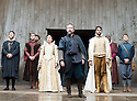 Macbeth by William Shakespeare. A Shakespeare's Globe Production directed by Eve Best. with Samantha Spiro as Lady Macbeth, Billy Boyd as Banquo, Joseph Millson as Macbeth [IN CENTRE] .Opens at the Shakespeare's Globe Theatre on 4/7/13  pic Geraint Lewis
