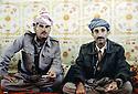 Iran 1979 In the camp of Ziweh, left Aref Yassin, right, Hamid Effendi, 2 commanders of peshmergas  Iran 1979  Chez Aref Yassin, a gauche, dans le camp de Ziwa et a droite Hamid Effendi,2 chefs de peshmergas