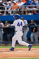 Austin Langworthy (44) of the Florida Gators follows through on his swing against the Wake Forest Demon Deacons in Game One of the Gainesville Super Regional of the 2017 College World Series at Alfred McKethan Stadium at Perry Field on June 10, 2017 in Gainesville, Florida.  The Gators defeated the Demon Deacons 2-1 in 11 innings.  (Brian Westerholt/Four Seam Images)