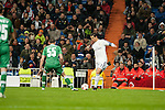 Cristiano Ronaldo of Real Madrid and Terziev of Ludogorets during Champions League match between Real Madrid and Ludogorets at Santiago Bernabeu Stadium in Madrid, Spain. December 09, 2014. (ALTERPHOTOS/Luis Fernandez)