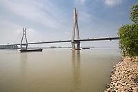 Yangzhou, Jiangsu, China.  Runyang Yangtze River Bridge.