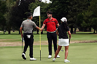 Charlie Smail (centre) shakes hands with Joshua Bai (left) and Momoka Kobori. Day one of the Brian Green Property Group NZ Super 6s Manawatu at Manawatu Golf Club in Palmerston North, New Zealand on Thursday, 25 February 2021. Photo: Dave Lintott / lintottphoto.co.nz