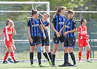 Charlotte Laridon (15) of Club Brugge  pictured celebrating after scoring a goal during a female soccer game between Club Brugge Dames YLA and Standard Femine de Liege on the seventh matchday in Play-Off 1 of the 2020 - 2021 season of Belgian Scooore Womens Super League , saturday 15 May 2021  in Brugge , Belgium . PHOTO SPORTPIX.BE | SPP | DAVID CATRY
