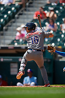 Lehigh Valley IronPigs Jan Hernandez (16) at bat during an International League game against the Buffalo Bisons on June 9, 2019 at Sahlen Field in Buffalo, New York.  Lehigh Valley defeated Buffalo 7-6 in 11 innings.  (Mike Janes/Four Seam Images)