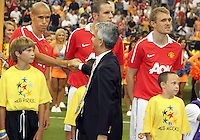 Gabriel Obertan #26 of Manchester United greets US Soccer Federation president Sunil Gulati during the 2010 MLS All-Star match against the MLS All-Stars at Reliant Stadium, on July 28 2010, in Houston, Texas .MANU won 5-2.