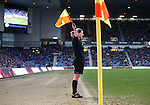 Assistant ref Lorraine Clark running the far side line at Ibrox