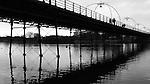 Southport - pier, beach, waterfront, gasometer, Marine Way Bridge, sunset