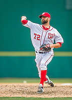 13 March 2016: Washington Nationals pitcher Burke Badenhop on the mound during a pre-season Spring Training game against the St. Louis Cardinals at Space Coast Stadium in Viera, Florida. The teams played to a 4-4 draw in Grapefruit League play. Mandatory Credit: Ed Wolfstein Photo *** RAW (NEF) Image File Available ***