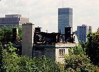 January  1987 File Photo - Montreal (Qc) Canada -<br /> <br /> Soviet Consulate in Montreal Seriously Damaged in a Fire<br /> <br /> <br /> <br /> A blaze engulfed the Soviet consulate January 15, 1987, but diplomats kept firemen outside for 15 minutes while they grabbed documents and tried to put out the fire with extinguishers and buckets of snow, witnesses and fire officials said.<br /> <br /> No injuries were reported but the consulate was seriously damaged. Firemen evacuated nearby buildings and blocked off several streets as the fire burned out of control for three hours. The cause was not determined.<br /> <br /> At the height of the fire, flames shot from the roof and smoke billowed from windows on the top two floors of the building on Avenue du Musee, a quiet street lined with old mansions and an art museum on the southern slope of Mount Royal, the central hill that gives Montreal its name.<br /> <br /> The Montreal fire chief, Yvon Bineault, said a dozen employees were destroying documents when he finally got inside the building, and they refused to leave.<br /> <br /> ''We spoke to them in French, English and Russian, but they just sat there and looked,'' he said.