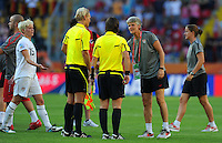 Pia Sundhage (r) of Team USA during the FIFA Women's World Cup at the FIFA Stadium in Dresden, Germany on June 28th, 2011.