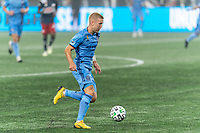 FOXBOROUGH, MA - SEPTEMBER 02: Anton Tinnerholm #3 of New York City FC brings the ball forward during a game between New York City FC and New England Revolution at Gillette Stadium on September 02, 2020 in Foxborough, Massachusetts.