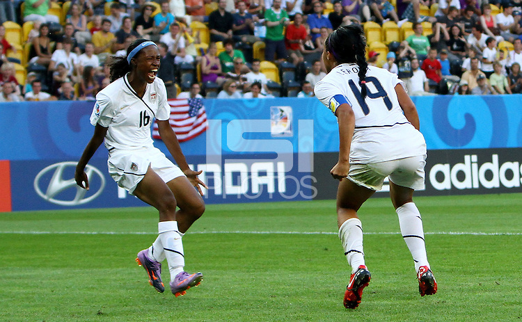 USA's Sydney Leroux (R) celebrates with Maya Hayes during the FIFA U20 Women's World Cup at the Rudolf Harbig Stadium in Dresden, Germany on July 14th, 2010.