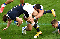 Hamish Watson of Scotland is tackled by Danilo Fischetti of Italy during the rugby Autumn Nations Cup's match between Italy and Scotland at Stadio Artemio Franchi on November 14, 2020 in Florence, Italy. Photo Andrea Staccioli / Insidefoto