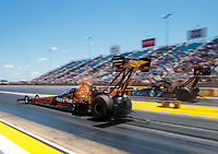 Jun 3, 2018; Joliet, IL, USA; NHRA top fuel driver Clay Millican (near) races alongside Scott Palmer during the Route 66 Nationals at Route 66 Raceway. Mandatory Credit: Mark J. Rebilas-USA TODAY Sports