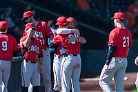 Gonzaga Bulldogs outfielder Jack Machtolf (24) hugs Daniel Fredrickson (38) before a game against the Oregon State Beavers on February 16, 2019 at Surprise Stadium in Surprise, Arizona. Oregon State defeated Gonzaga 9-3. (Zachary Lucy/Four Seam Images)