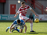 Hamilton Accies v St Johnstone…01.04.17     SPFL    New Douglas Park<br />Graham Cummins goes down under a challenge from Greg Docherty<br />Picture by Graeme Hart.<br />Copyright Perthshire Picture Agency<br />Tel: 01738 623350  Mobile: 07990 594431