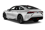 Car pictures of rear three quarter view of 2021 Toyota Mirai Executive 4 Door Sedan Angular Rear