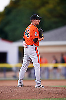 Aberdeen IronBirds relief pitcher Zach Muckenhirn (46) delivers a pitch during a game against the Batavia Muckdogs on July 15, 2016 at Dwyer Stadium in Batavia, New York.  Aberdeen defeated Batavia 4-2.  (Mike Janes/Four Seam Images)