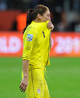 Hope Solo of team USA reacts during the FIFA Women's World Cup Final USA against Japan at the FIFA Stadium in Frankfurt, Germany on July 17th, 2011.