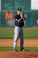 Wingate Bulldogs relief pitcher Riley Isenhour (21) looks to his catcher for the sign against the Catawba Indians at Newman Park on March 19, 2017 in Salisbury, North Carolina. The Indians defeated the Bulldogs 12-6. (Brian Westerholt/Four Seam Images)