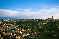 Spain, Segovia. View of the old city at right (the most prominent building is the cathedral), and new development outside the old city walls, left. Segovia Castilla Y Leon Spain.
