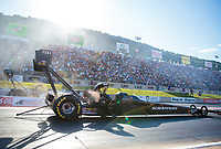Jul 19, 2019; Morrison, CO, USA; NHRA top fuel driver Mike Salinas during qualifying for the Mile High Nationals at Bandimere Speedway. Mandatory Credit: Mark J. Rebilas-USA TODAY Sports