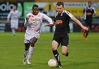 FC Gullegem - Racing Gent Zeehaven : duel tussen Andre Ntambue (links) en Gauthier Van De Geuchte (r) <br /> Foto VDB / Bart Vandenbroucke