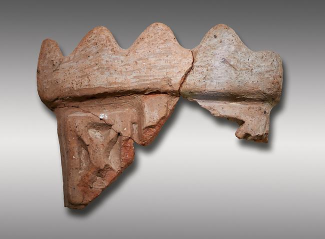 Hittite terra cotta fragmants of a defenive wall tower shaped vessel . Hittite Period, 1600 - 1200 BC.  Hattusa Boğazkale. Çorum Archaeological Museum, Corum, Turkey