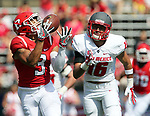 Rutgers takes on New Mexico in a NCAA football game at High Point Solutions Stadium in Piscataway on Saturday September 17, 2016<br /> <br /> Rutgers # 3 Jawuan Harris (left) beats out New Mexico's # 16 (right) Jacob Girgler and races toward the end zone after catching a Chris Laviano pass for a touchdown during the 1st quarter of play.